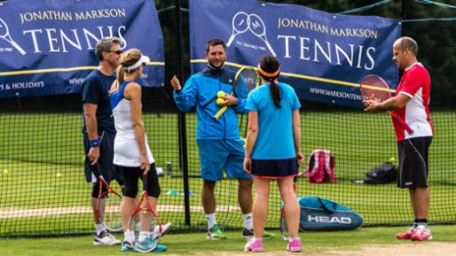 Professional adult tennis coaching group