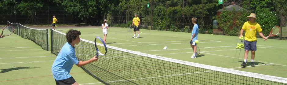 All action at the London tennis camp