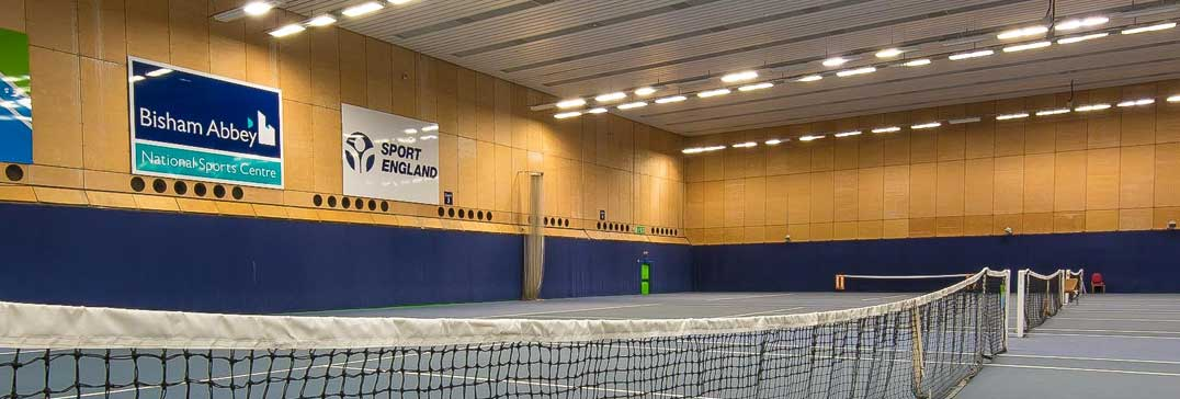 Indoor tennis courts at the Easter Tennis Camp, Bisham Abbey