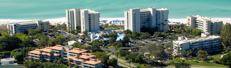 Looking down on the Longboat Key Club and resort. A great place for your tennis holiday in Florida.