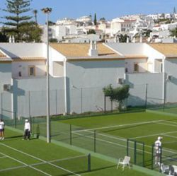 The 3 tennis courts at Luz Bay Hotel, Algarve