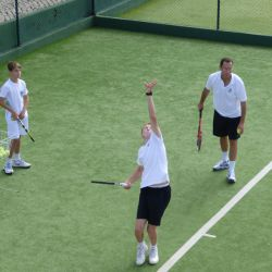 Serve practice on the tennis courts, Algarve
