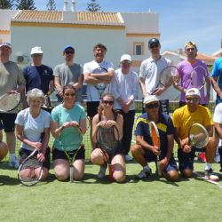 Social tennis group in the sun, Algarve
