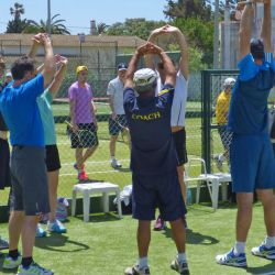 Advanced group warms down after tennis, Algarve