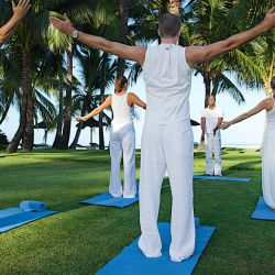 Yoga before tennis in Mauritius