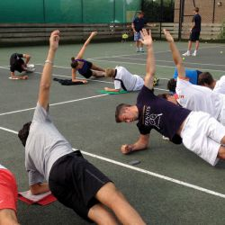 Tennis players fitness session