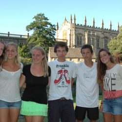 Tennis players in front of Christ Church College