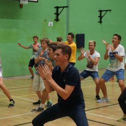 Tennis players enjoy their zumba class