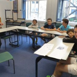 Students in their English lessons at the tennis camp