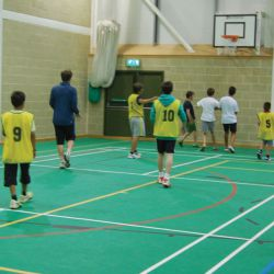 Students enjoy a game of basketball, Yorkshire Tennis Camp